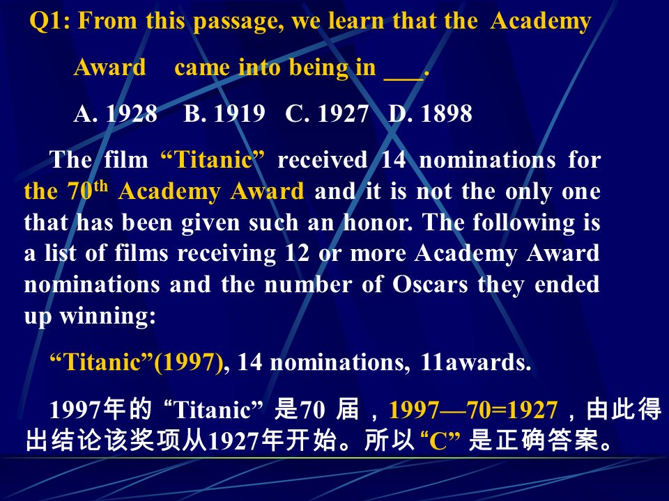 Q1: From this passage, we learn that the Academy Award came into being in ___.