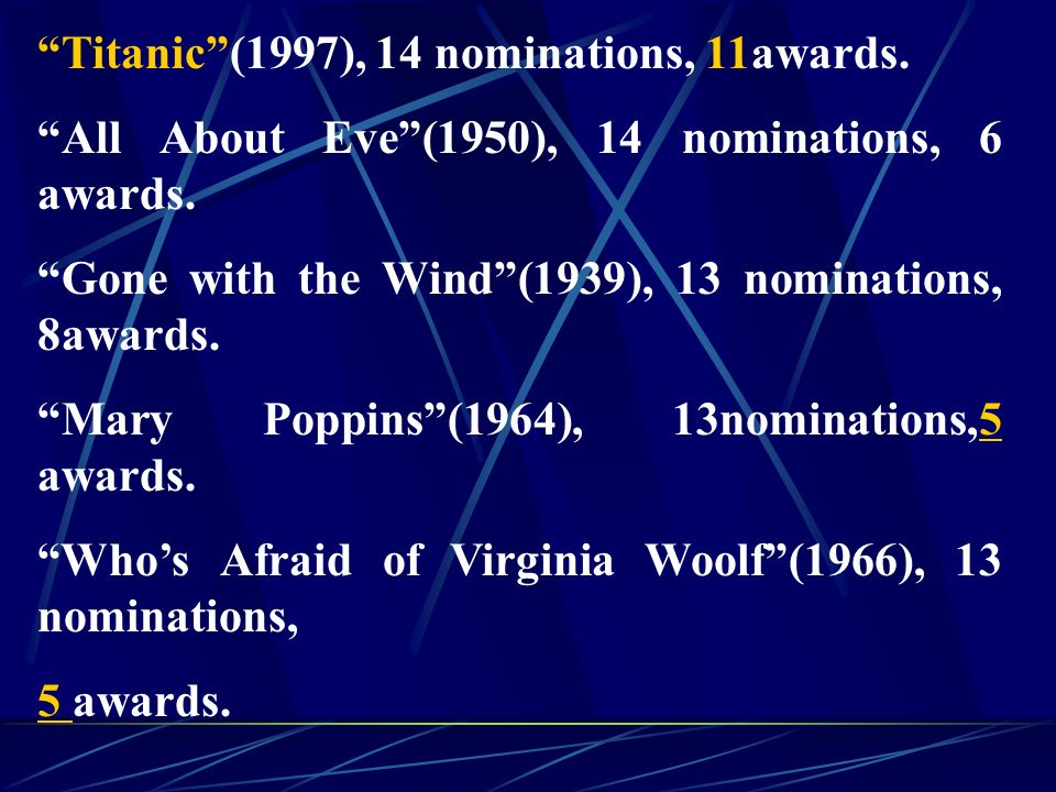 Titanic (1997), 14 nominations, 11awards. All About Eve (1950), 14 nominations, 6 awards.