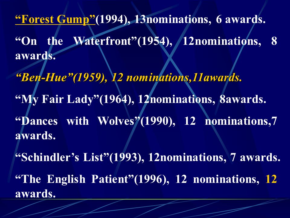 Forest Gump (1994), 13nominations, 6 awards. On the Waterfront (1954), 12nominations, 8 awards.