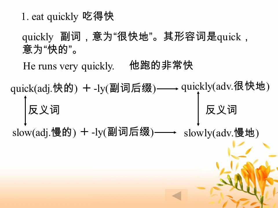 1. eat quickly 吃得快 quickly 副词,意为 很快地 。其形容词是 quick , 意为 快的 。 He runs very quickly.