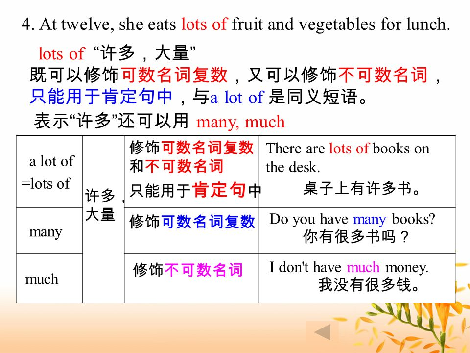 4. At twelve, she eats lots of fruit and vegetables for lunch.