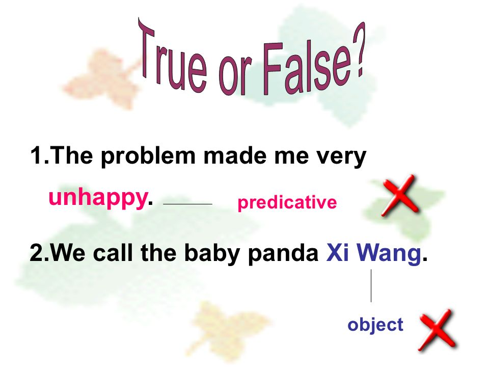 1.The problem made me very unhappy. 2.We call the baby panda Xi Wang. predicative object