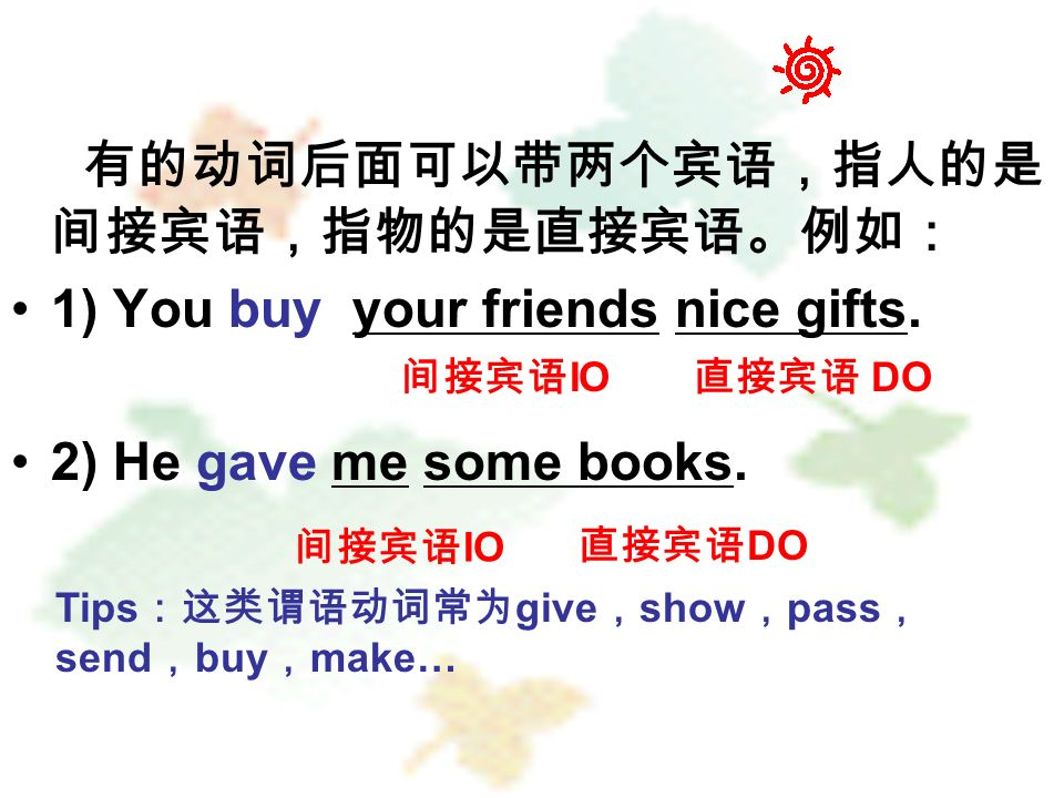 有的动词后面可以带两个宾语,指人的是 间接宾语,指物的是直接宾语。例如: 1) You buy your friends nice gifts.