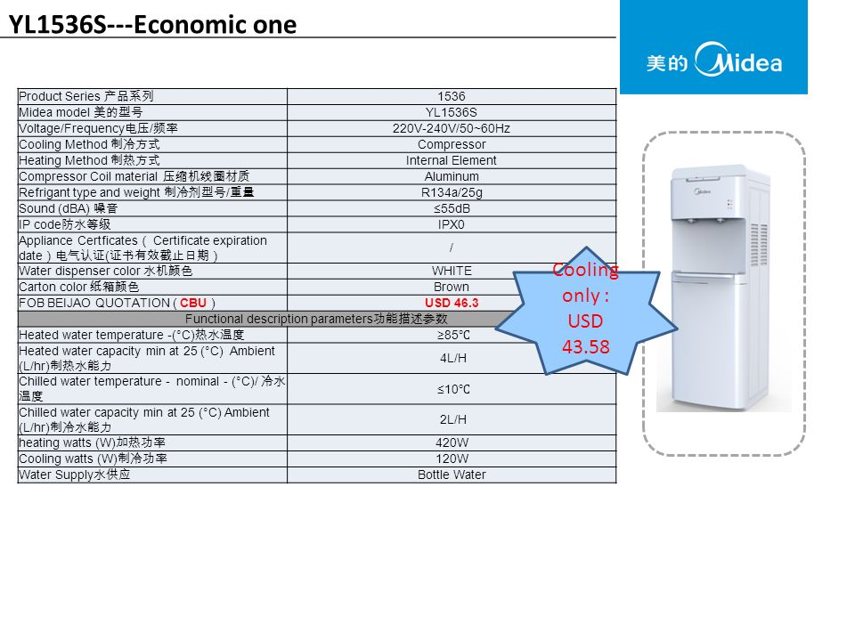 YL1536S---Economic one Product Series 产品系列 1536 Midea model 美的型号 YL1536S Voltage/Frequency 电压 / 频率 220V-240V/50~60Hz Cooling Method 制冷方式 Compressor Heating Method 制热方式 Internal Element Compressor Coil material 压缩机线圈材质 Aluminum Refrigant type and weight 制冷剂型号 / 重量 R134a/25g Sound (dBA) 噪音 ≤55dB IP code 防水等级 IPX0 Appliance Certficates ( Certificate expiration date )电气认证 ( 证书有效截止日期) / Water dispenser color 水机颜色 WHITE Carton color 纸箱颜色 Brown FOB BEIJAO QUOTATION ( CBU )USD 46.3 Functional description parameters 功能描述参数 Heated water temperature -(°C) 热水温度 ≥85 ℃ Heated water capacity min at 25 (°C) Ambient (L/hr) 制热水能力 4L/H Chilled water temperature - nominal - (°C)/ 冷水 温度 ≤10 ℃ Chilled water capacity min at 25 (°C) Ambient (L/hr) 制冷水能力 2L/H heating watts (W) 加热功率 420W Cooling watts (W) 制冷功率 120W Water Supply 水供应 Bottle Water Cooling only : USD 43.58