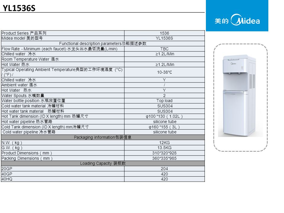 YL1536S Product Series 产品系列 1536 Midea model 美的型号 YL1536S Functional description parameters 功能描述参数 Flow Rate - Minimum (each faucet) 水龙头出水最低流量 (L/min) TBC Chilled water 冷水 ≥1.2L/Min Room Temperature Water 温水 Hot Water 热水 ≥1.2L/Min Typical Operating Ambient Temperature 典型的工作环境温度 (°C) / (°F) / ℃ Chilled water 冷水 Y Ambient water 温水 / Hot Water 热水 Y Water Spouts 水嘴数量 2 Water bottle position 水瓶放置位置 Top load Cold water tank material 冷罐材料 SUS304 Hot water tank material 热罐材料 SUS304 Hot Tank dimension (ID X length) mm 热罐尺寸 φ100 *130 ( 1.02L ) Hot water pipeline 热水管路 silicone tube Cold Tank dimension (ID X length) mm 冷罐尺寸 φ160 *155 ( 3L ) Cold water pipeline 冷水管路 silicone tube Packaging information 包装信息 N.W.