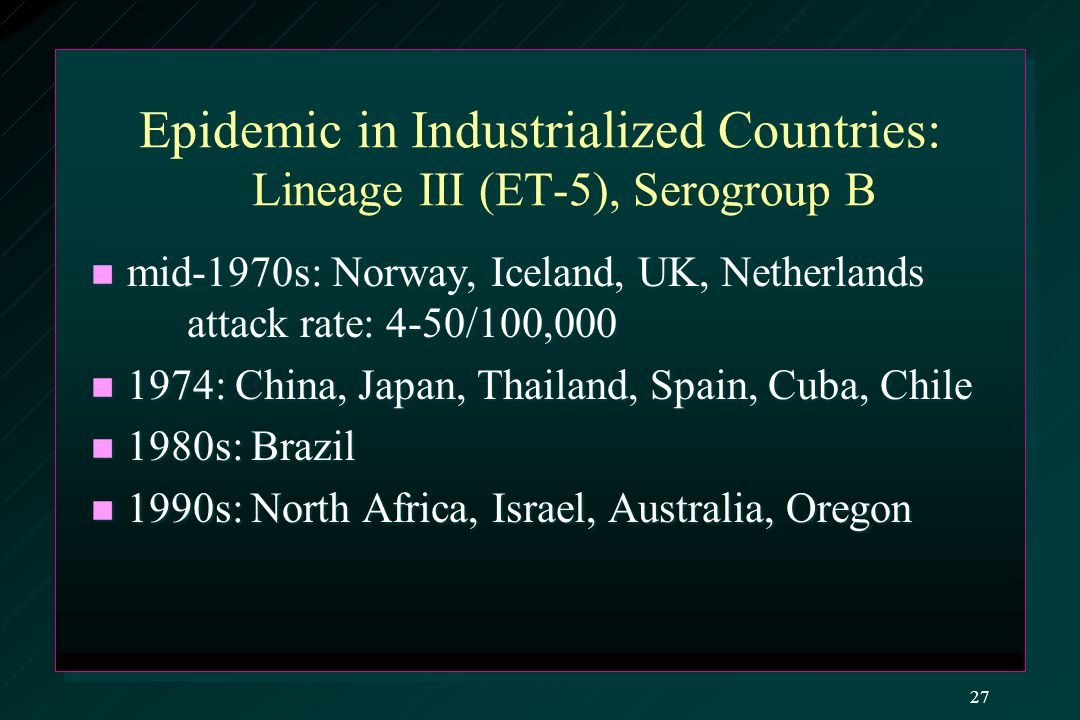Epidemic in Industrialized Countries: Lineage III (ET-5), Serogroup B mid-1970s: Norway, Iceland, UK, Netherlands attack rate: 4-50/100,000 mid-1970s: Norway, Iceland, UK, Netherlands attack rate: 4-50/100,000 1974: China, Japan, Thailand, Spain, Cuba, Chile 1974: China, Japan, Thailand, Spain, Cuba, Chile 1980s: Brazil 1980s: Brazil 1990s: North Africa, Israel, Australia, Oregon 1990s: North Africa, Israel, Australia, Oregon 27