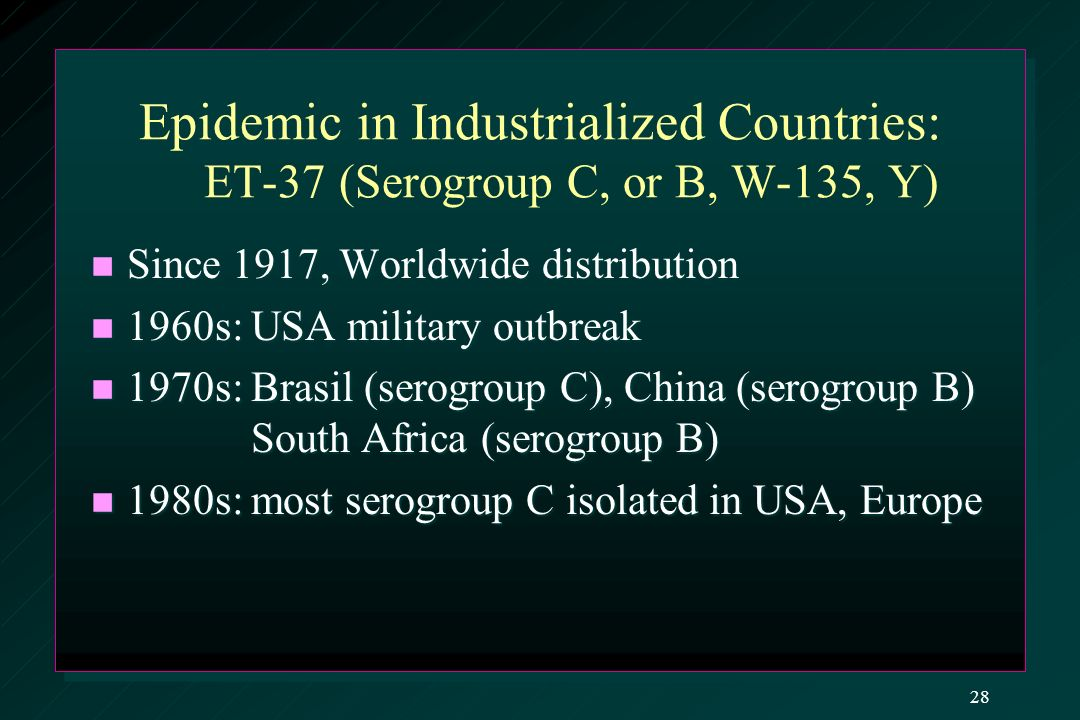 Epidemic in Industrialized Countries: ET-37 (Serogroup C, or B, W-135, Y) Since 1917, Worldwide distribution Since 1917, Worldwide distribution 1960s: USA military outbreak 1960s: USA military outbreak 1970s: Brasil (serogroup C), China (serogroup B) South Africa (serogroup B) 1970s: Brasil (serogroup C), China (serogroup B) South Africa (serogroup B) 1980s: most serogroup C isolated in USA, Europe 1980s: most serogroup C isolated in USA, Europe 28