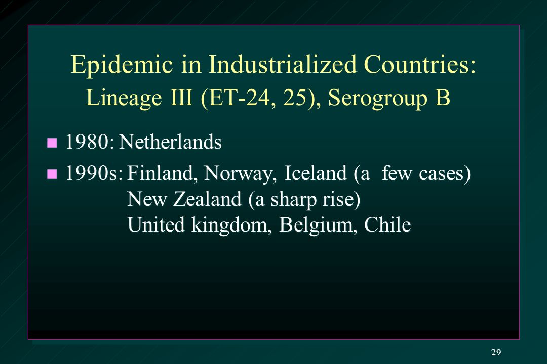 Epidemic in Industrialized Countries: Lineage III (ET-24, 25), Serogroup B 1980: Netherlands 1980: Netherlands 1990s: Finland, Norway, Iceland (a few cases) New Zealand (a sharp rise) United kingdom, Belgium, Chile 1990s: Finland, Norway, Iceland (a few cases) New Zealand (a sharp rise) United kingdom, Belgium, Chile 29