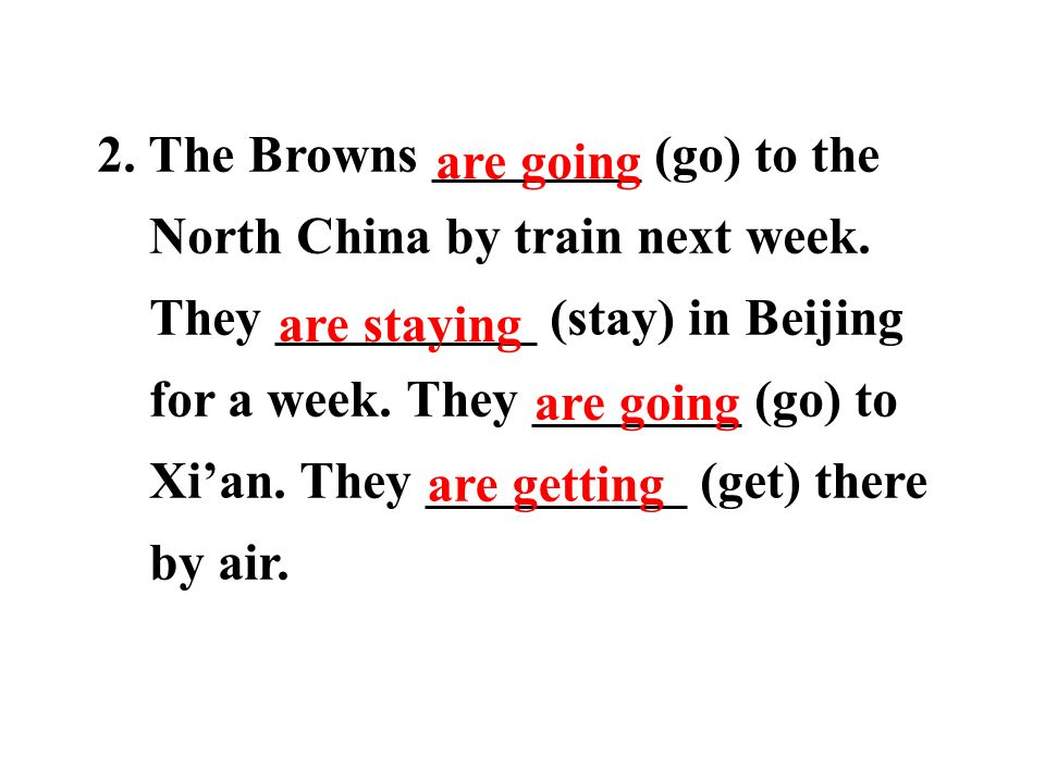 2. The Browns ________ (go) to the North China by train next week.