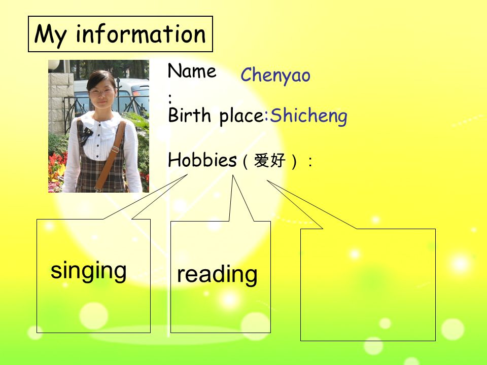 Name : My information Hobbies (爱好): Chenyao Birth place: singing Shicheng