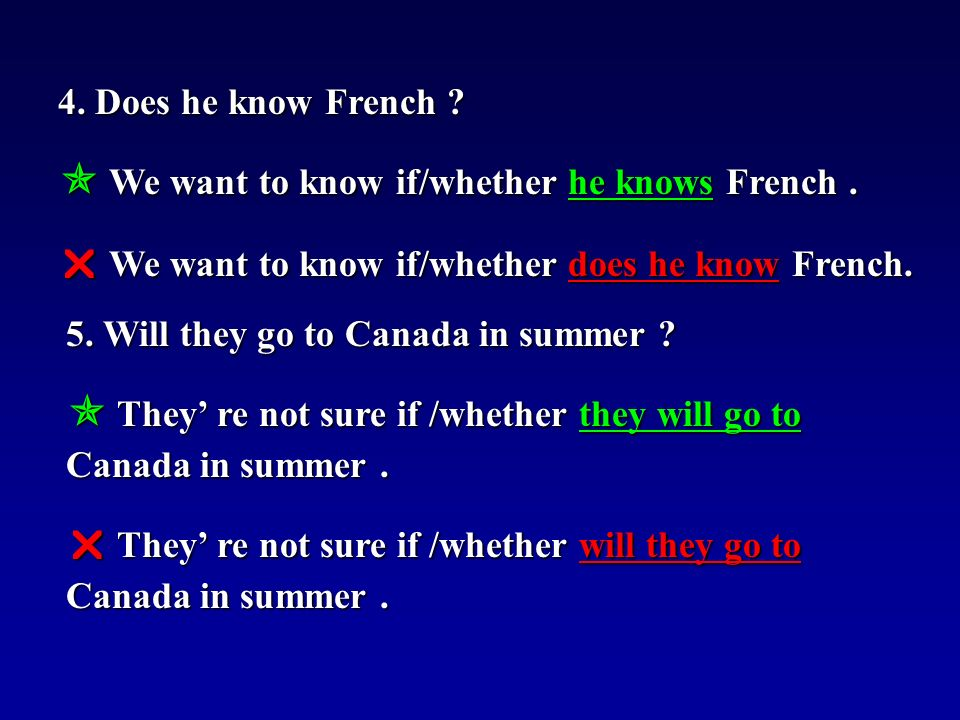 4. Does he know French .  We want to know if/whether he knows French.