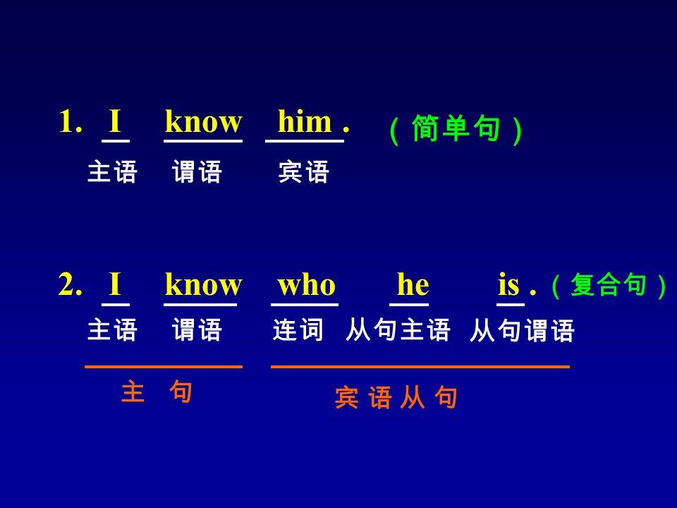 1. I know him. 2. I know who he is. 主语谓语宾语 (简单句) 主语谓语 宾 语 从 句宾 语 从 句 连词从句主语 从句谓语 主 句 (复合句)