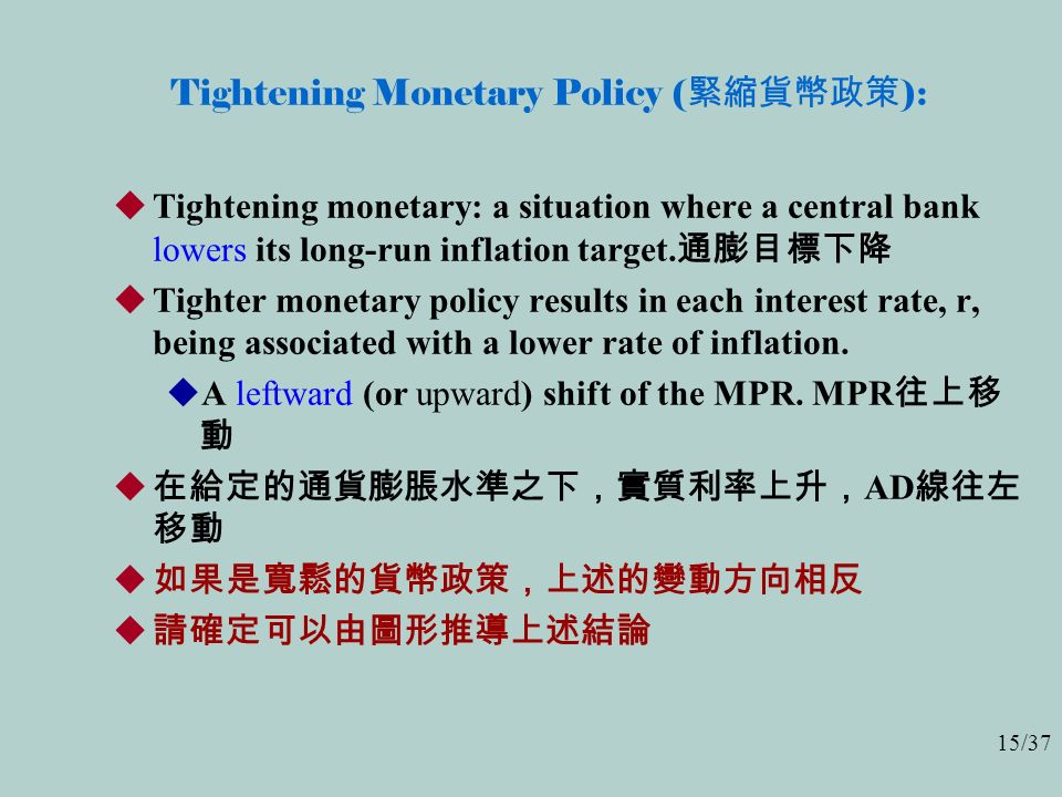 15/37 Tightening Monetary Policy ( 緊縮貨幣政策 ):  Tightening monetary: a situation where a central bank lowers its long-run inflation target.