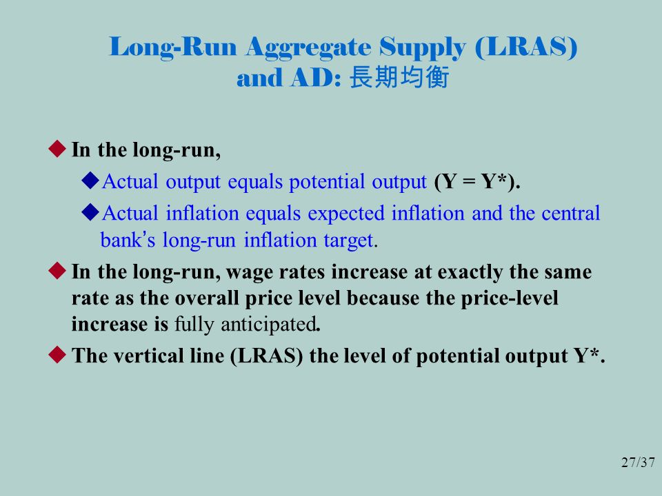 27/37 Long-Run Aggregate Supply (LRAS) and AD: 長期均衡  In the long-run,  Actual output equals potential output (Y = Y*).