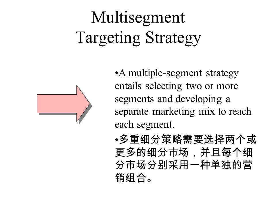 Multisegment Targeting Strategy A multiple-segment strategy entails selecting two or more segments and developing a separate marketing mix to reach each segment.