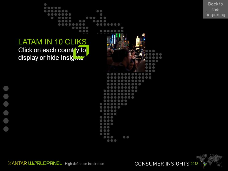 LATAM IN 10 CLIKS Click on each country to display or hide Insights Back to the beginning Back to the beginning