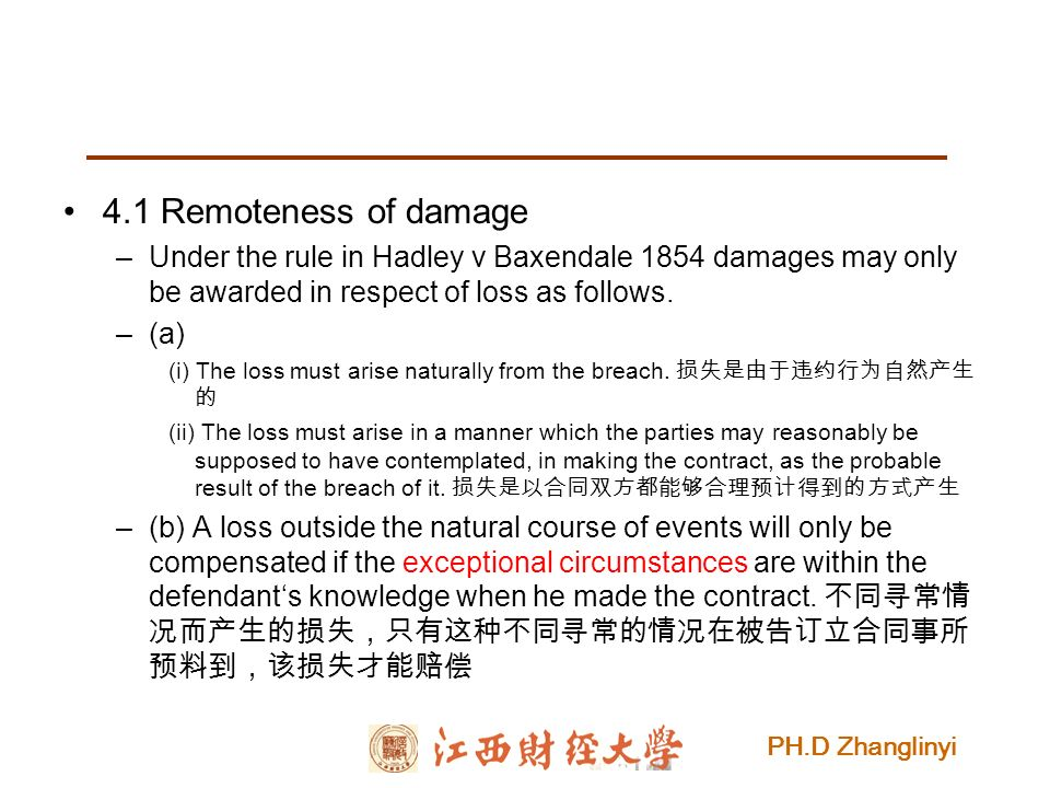 PH.D Zhanglinyi 4.1 Remoteness of damage –Under the rule in Hadley v Baxendale 1854 damages may only be awarded in respect of loss as follows.