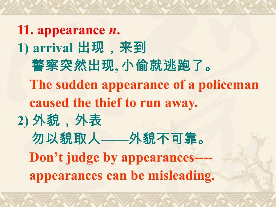 11. appearance n.