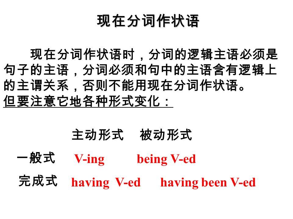 现在分词作状语 现在分词作状语时,分词的逻辑主语必须是 句子的主语,分词必须和句中的主语含有逻辑上 的主谓关系,否则不能用现在分词作状语。 但要注意它地各种形式变化: 主动形式 被动形式 V-ing being V-ed having V-ed having been V-ed 一般式 完成式