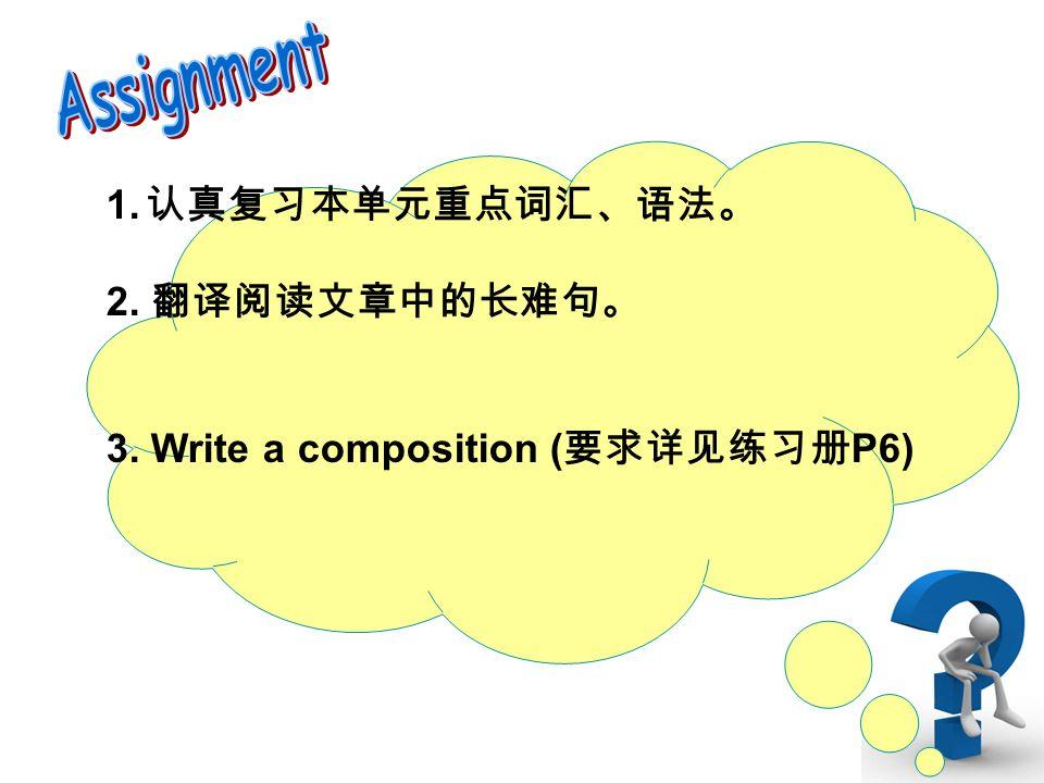 1. 认真复习本单元重点词汇、语法。 2. 翻译阅读文章中的长难句。 3. Write a composition ( 要求详见练习册 P6)