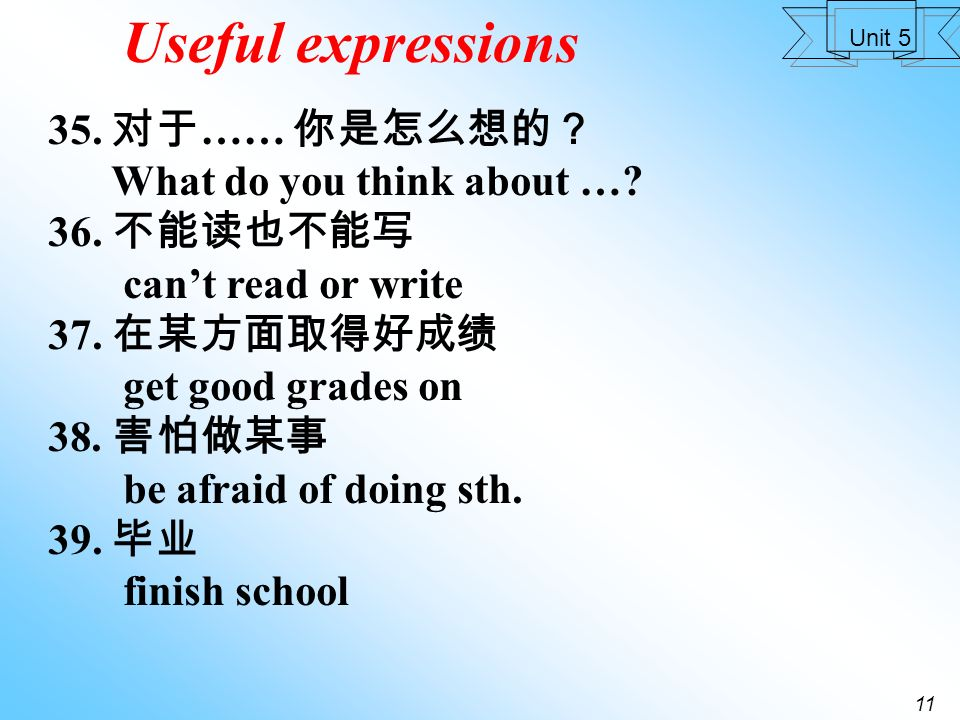 10 Unit 5 Useful expressions 30.