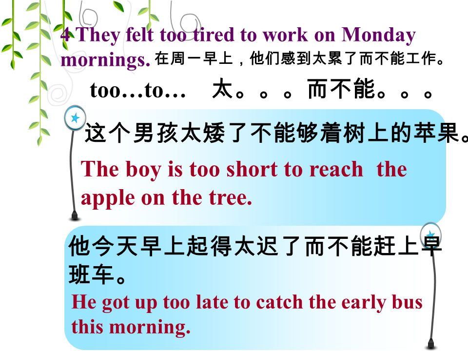 too…to… 太。。。而不能。。。 4 They felt too tired to work on Monday mornings.