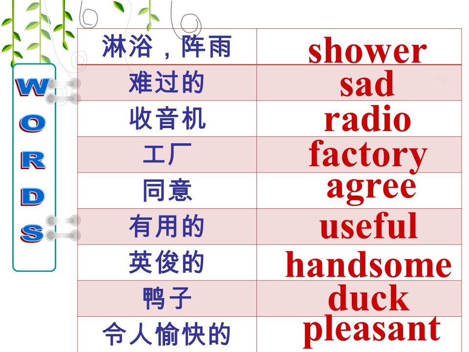 淋浴,阵雨 难过的 收音机 工厂 同意 有用的 英俊的 鸭子 令人愉快的 shower radio agree factory useful handsome duck sad pleasant
