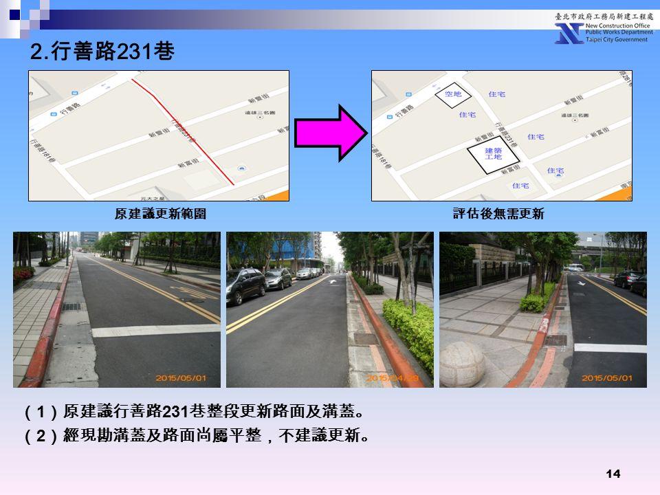 14 ( 1 )原建議行善路 231 巷整段更新路面及溝蓋。 ( 2 )經現勘溝蓋及路面尚屬平整,不建議更新。 原建議更新範圍 評估後無需更新 2. 行善路 231 巷