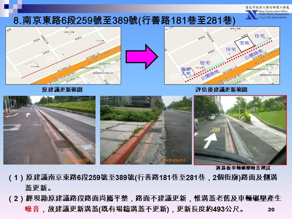 20 ( 1 )原建議南京東路 6 段 259 號至 389 號 ( 行善路 181 巷至 281 巷, 2 個街廓 ) 路面及側溝 蓋更新。 ( 2 )經現勘原建議路段路面尚屬平整,路面不建議更新,惟溝蓋老舊及車輛碾壓產生 噪音,故建議更新溝蓋 ( 既有場鑄溝蓋不更新 ) ,更新長度約 493 公尺。 原建議更新範圍 評估後建議更新範圍 溝蓋板車輛碾壓噪音測試 8.