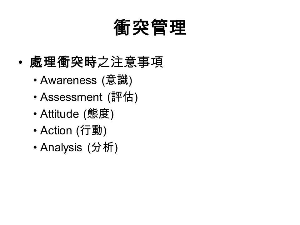 衝突管理 處理衝突時之注意事項 Awareness ( 意識 ) Assessment ( 評估 ) Attitude ( 態度 ) Action ( 行動 ) Analysis ( 分析 )