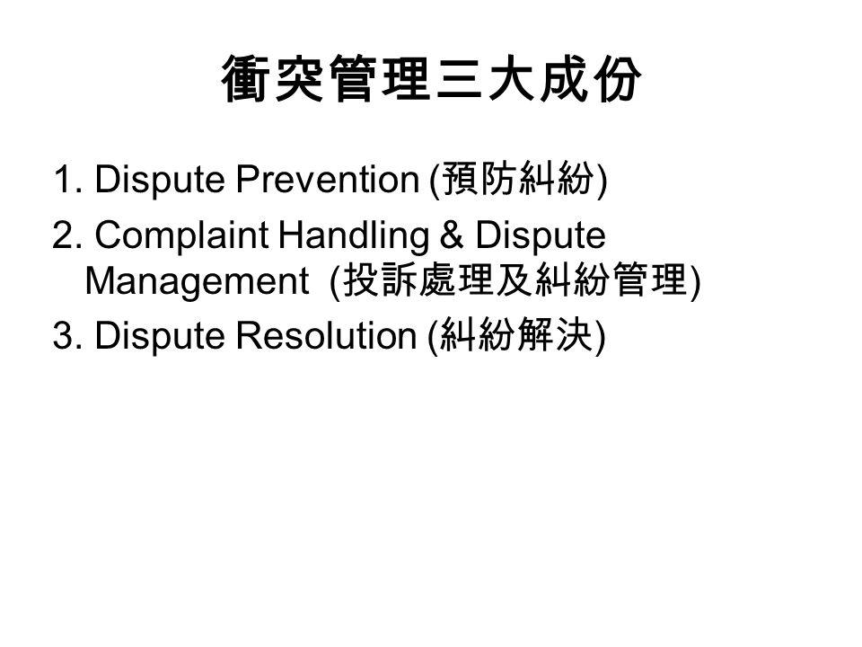 衝突管理三大成份 1. Dispute Prevention ( 預防糾紛 ) 2.