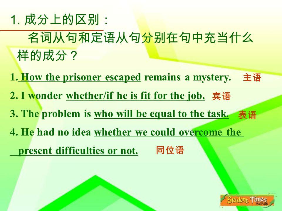 1. 成分上的区别: 名词从句和定语从句分别在句中充当什么 样的成分? 1. How the prisoner escaped remains a mystery.