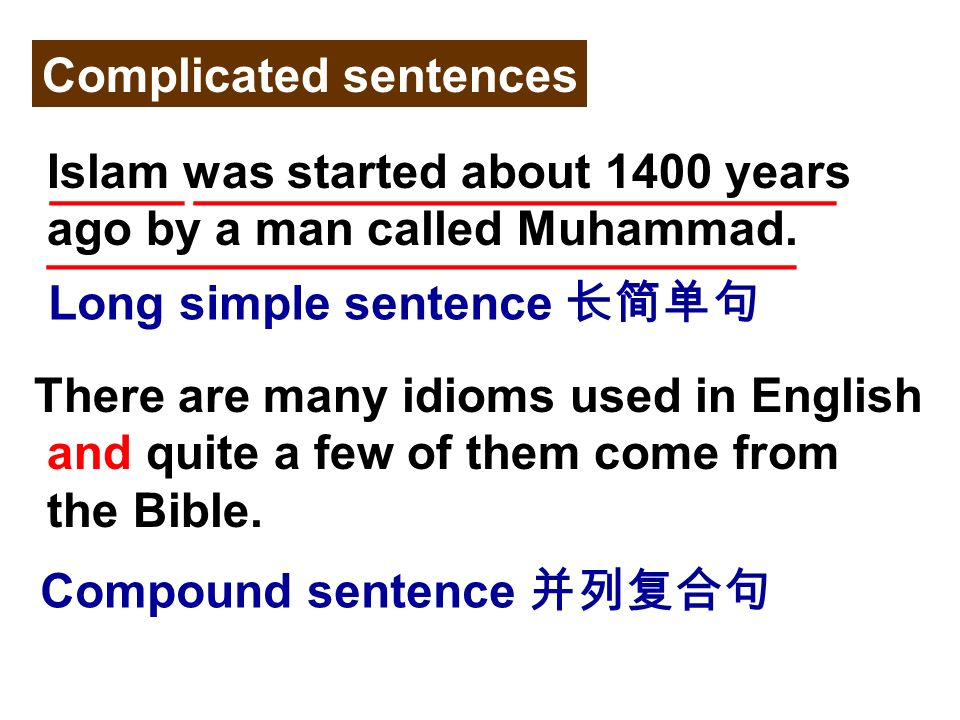 Complicated sentences Islam was started about 1400 years ago by a man called Muhammad.