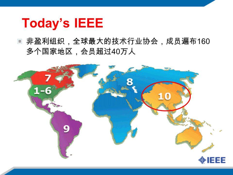 非盈利组织,全球最大的技术行业协会,成员遍布 160 多个国家地区,会员超过 40 万人 Today's IEEE
