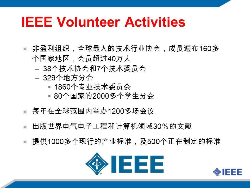IEEE Volunteer Activities 非盈利组织,全球最大的技术行业协会,成员遍布 160 多 个国家地区,会员超过 40 万人 –38 个技术协会和 7 个技术委员会 –329 个地方分会  1860 个专业技术委员会  80 个国家的 2000 多个学生分会 每年在全球范围内举办 1200 多场会议 出版世界电气电子工程和计算机领域 30 %的文献 提供 1000 多个现行的产业标准,及 500 个正在制定的标准