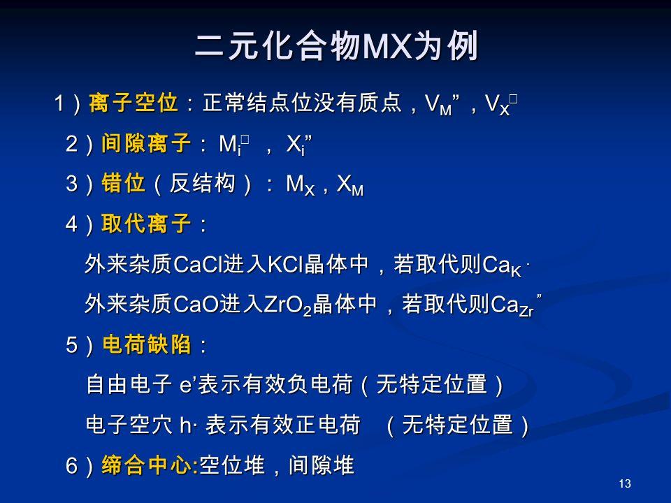 13 二元化合物 MX 为例 1 )离子空位:正常结点位没有质点, V M , V X ‥ 2 )间隙离子: M i ‥ , X i 3 )错位(反结构): M X , X M 4 )取代离子: 外来杂质 CaCl 进入 KCl 晶体中,若取代则 Ca K . 外来杂质 CaO 进入 ZrO 2 晶体中,若取代则 Ca Zr 5 )电荷缺陷: 自由电子 e' 表示有效负电荷(无特定位置) 电子空穴 h· 表示有效正电荷 (无特定位置) 6 )缔合中心 : 空位堆,间隙堆 1 )离子空位:正常结点位没有质点, V M , V X ‥ 2 )间隙离子: M i ‥ , X i 3 )错位(反结构): M X , X M 4 )取代离子: 外来杂质 CaCl 进入 KCl 晶体中,若取代则 Ca K . 外来杂质 CaO 进入 ZrO 2 晶体中,若取代则 Ca Zr 5 )电荷缺陷: 自由电子 e' 表示有效负电荷(无特定位置) 电子空穴 h· 表示有效正电荷 (无特定位置) 6 )缔合中心 : 空位堆,间隙堆