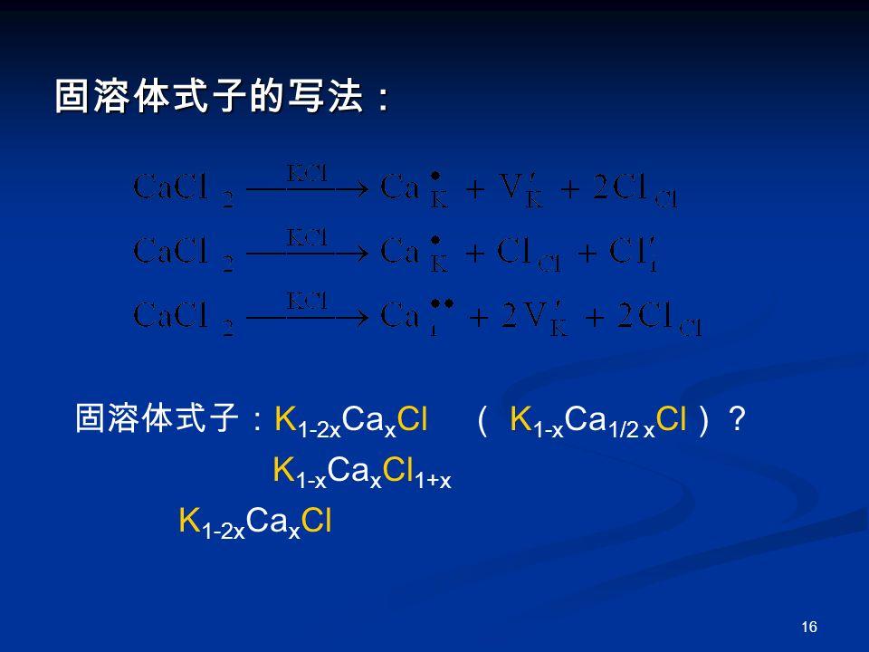 16 固溶体式子的写法: 固溶体式子: K 1-2x Ca x Cl ( K 1-x Ca 1/2 x Cl )? K 1-x Ca x Cl 1+x K 1-2x Ca x Cl