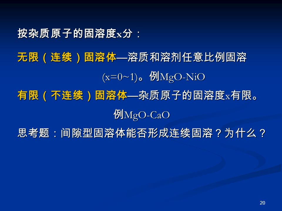 20 按杂质原子的固溶度 x 分: 无限(连续)固溶体 — 溶质和溶剂任意比例固溶 (x=0~1) 。例 MgO-NiO (x=0~1) 。例 MgO-NiO 有限(不连续)固溶体 — 杂质原子的固溶度 x 有限。 例 MgO-CaO 例 MgO-CaO思考题:间隙型固溶体能否形成连续固溶?为什么?