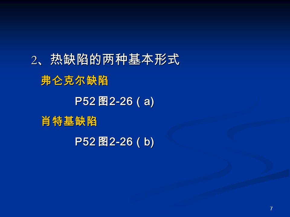 7 2 、热缺陷的两种基本形式 2 、热缺陷的两种基本形式 弗仑克尔缺陷 弗仑克尔缺陷 P52 图 2-26 ( a) P52 图 2-26 ( a) 肖特基缺陷 肖特基缺陷 P52 图 2-26 ( b) P52 图 2-26 ( b)