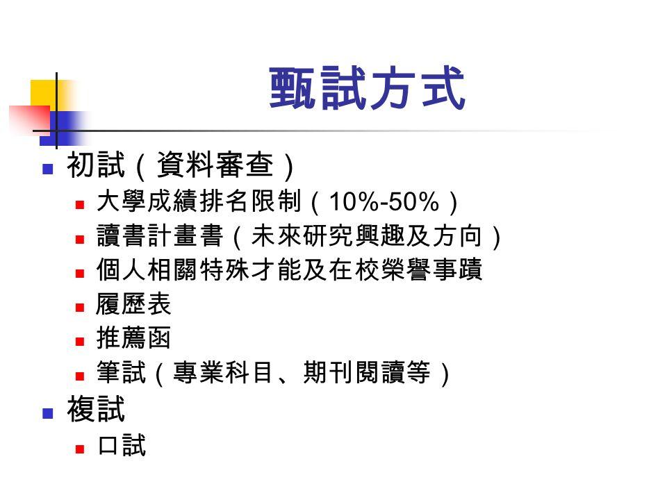 甄試方式 初試(資料審查) 大學成績排名限制( 10%-50% ) 讀書計畫書(未來研究興趣及方向) 個人相關特殊才能及在校榮譽事蹟 履歷表 推薦函 筆試(專業科目、期刊閱讀等) 複試 口試