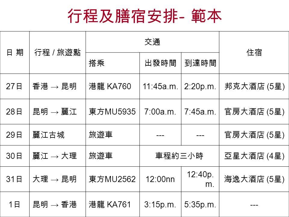 行程及膳宿安排 - 範本 日 期日 期行程 / 旅遊點 交通 住宿 搭乘出發時間到達時間 27 日香港 → 昆明港龍 KA760 11:45a.m.2:20p.m.