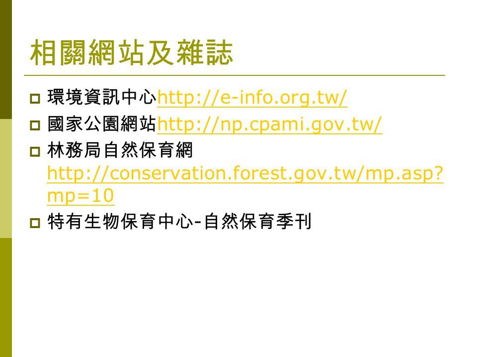 相關網站及雜誌  環境資訊中心 http://e-info.org.tw/ http://e-info.org.tw/  國家公園網站 http://np.cpami.gov.tw/ http://np.cpami.gov.tw/  林務局自然保育網 http://conservation.forest.gov.tw/mp.asp.