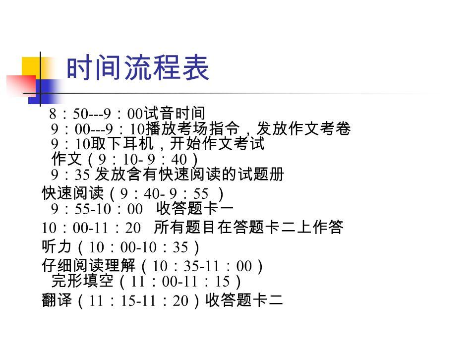 时间流程表 8 : 50---9 : 00 试音时间 9 : 00---9 : 10 播放考场指令,发放作文考卷 9 : 10 取下耳机,开始作文考试 作文( 9 : 10- 9 : 40 ) 9 : 35 发放含有快速阅读的试题册 快速阅读( 9 : 40- 9 : 55 ) 9 : 55-10 : 00 收答题卡一 10 : 00-11 : 20 所有题目在答题卡二上作答 听力( 10 : 00-10 : 35 ) 仔细阅读理解( 10 : 35-11 : 00 ) 完形填空( 11 : 00-11 : 15 ) 翻译( 11 : 15-11 : 20 )收答题卡二