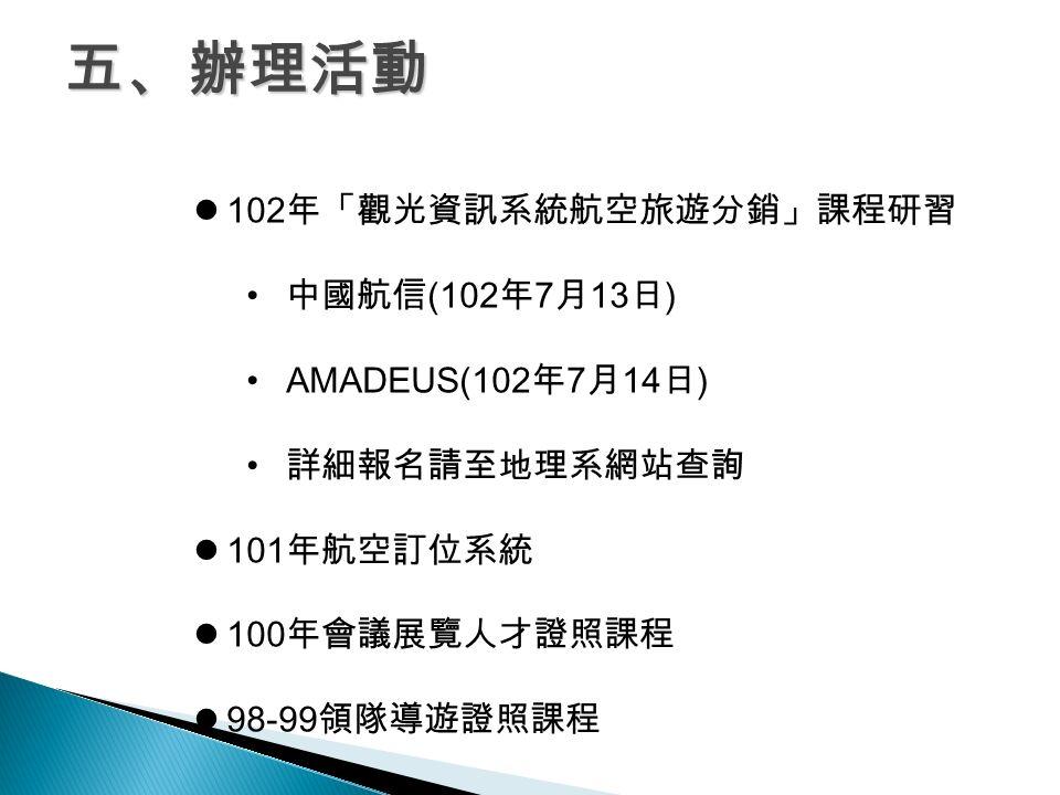五、辦理活動 102 年「觀光資訊系統航空旅遊分銷」課程研習 中國航信 (102 年 7 月 13 日 ) AMADEUS(102 年 7 月 14 日 ) 詳細報名請至地理系網站查詢 101 年航空訂位系統 100 年會議展覽人才證照課程 98-99 領隊導遊證照課程
