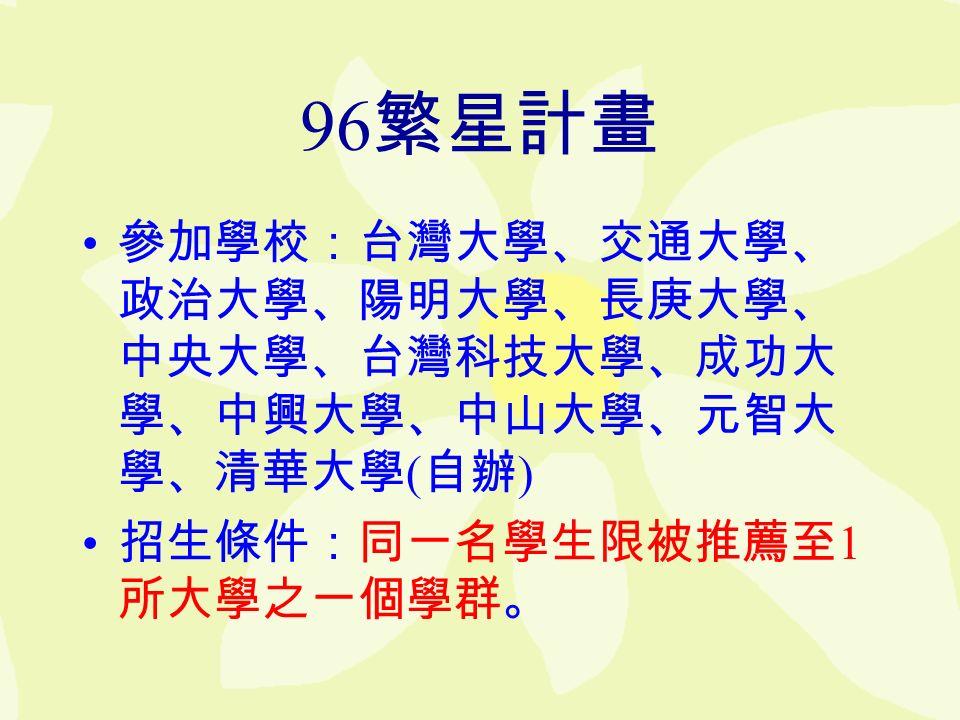 96 繁星計畫 參加學校:台灣大學、交通大學、 政治大學、陽明大學、長庚大學、 中央大學、台灣科技大學、成功大 學、中興大學、中山大學、元智大 學、清華大學 ( 自辦 ) 招生條件:同一名學生限被推薦至 1 所大學之一個學群。