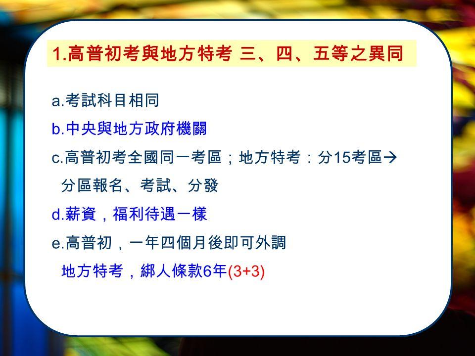 1. 高普初考與地方特考 三、四、五等之異同 a. 考試科目相同 b. 中央與地方政府機關 c.