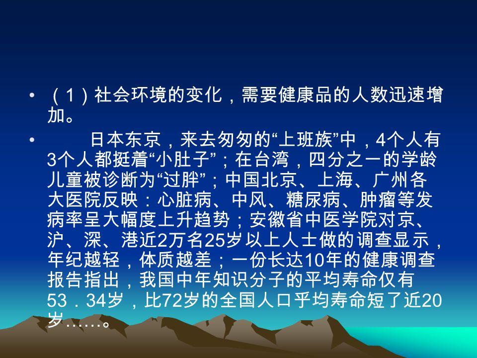 ( 1 )社会环境的变化,需要健康品的人数迅速增 加。 日本东京,来去匆匆的 上班族 中, 4 个人有 3 个人都挺着 小肚子 ;在台湾,四分之一的学龄 儿童被诊断为 过胖 ;中国北京、上海、广州各 大医院反映:心脏病、中风、糖尿病、肿瘤等发 病率呈大幅度上升趋势;安徽省中医学院对京、 沪、深、港近 2 万名 25 岁以上人士做的调查显示, 年纪越轻,体质越差;一份长达 10 年的健康调查 报告指出,我国中年知识分子的平均寿命仅有 53 . 34 岁,比 72 岁的全国人口乎均寿命短了近 20 岁 …… 。