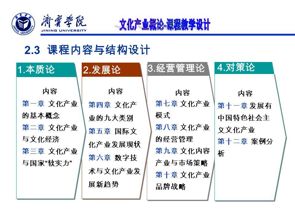 2.3 课程内容与结构设计 3. 经营管理论 2. 发展论 1.