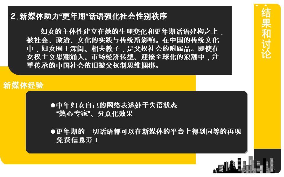 妇女的主体性建立在她的生理变化和更年期话语建构之上, 被社会、政治、文化的实践与传统所影响。在中国的传统文化 中,妇女囿于深闺、相夫教子,是父权社会的附属品。即使在 女权主义思潮涌入、市场经济转型、迎接全球化的浪潮中,注 重传承的中国社会依旧被父权制思维捆绑。 中年妇女自己的网络表述处于失语状态 热心专家 、分众化效果 更年期的一切话语都可以在新媒体的平台上得到同等的再现 免费信息劳工 新媒体经验 2.