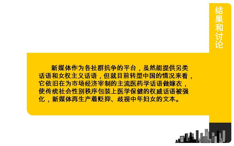 新媒体作为各社群抗争的平台,虽然能提供另类 话语和女权主义话语,但就目前转型中国的情况来看, 它依旧在为市场经济宰制的主流医药学话语做嫁衣, 使传统社会性别秩序包装上医学保健的权威话语被强 化,新媒体再生产着贬抑、歧视中年妇女的文本。